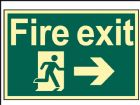 Fire Exit Running Man Arrow Right - Photoluminescent 300 x 200mm